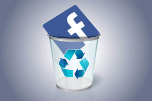 facebook icon in a trash bin