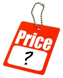 Price tag with question mark